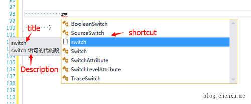 Code snippet switch